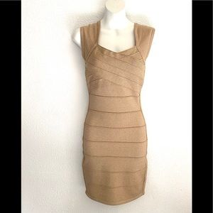 Forever 21 gold metallic ribbed bodycon dress - Sm